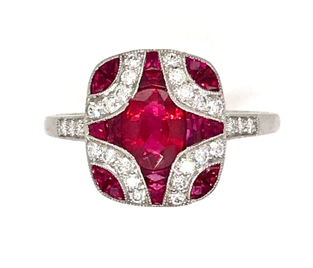 ART DECO STYLE RUBY AND DIAMOND PLATINUM FASHION RING