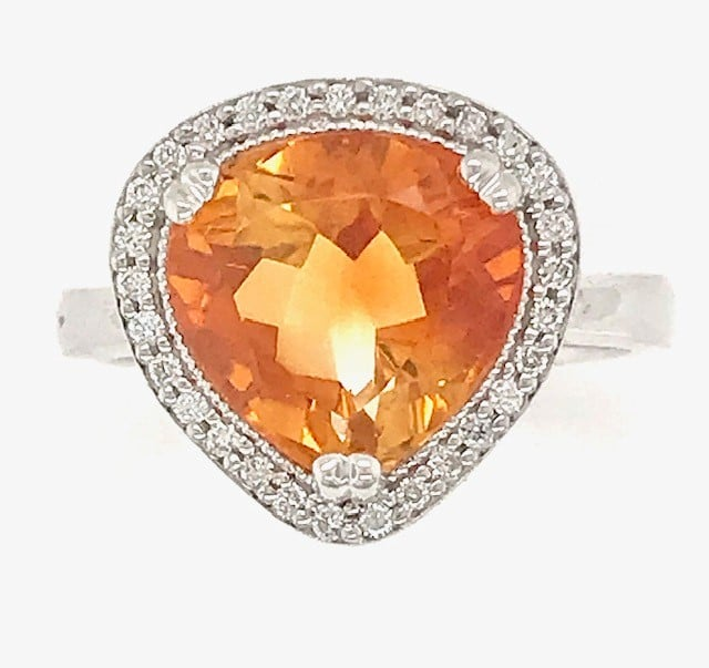 EURO STYLE TRILLION CUT CITRINE AND DIAMOND HALO 14K WHITE GOLD RING