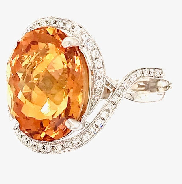 OVAL CITRINE AND DIAMOND HALO BYPASS 14K WHITE GOLD RING