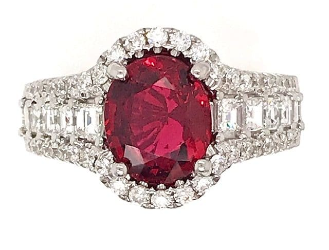 OVAL RED SPINEL AND 1.25 CARAT DIAMOND 18K WHITE GOLD RING