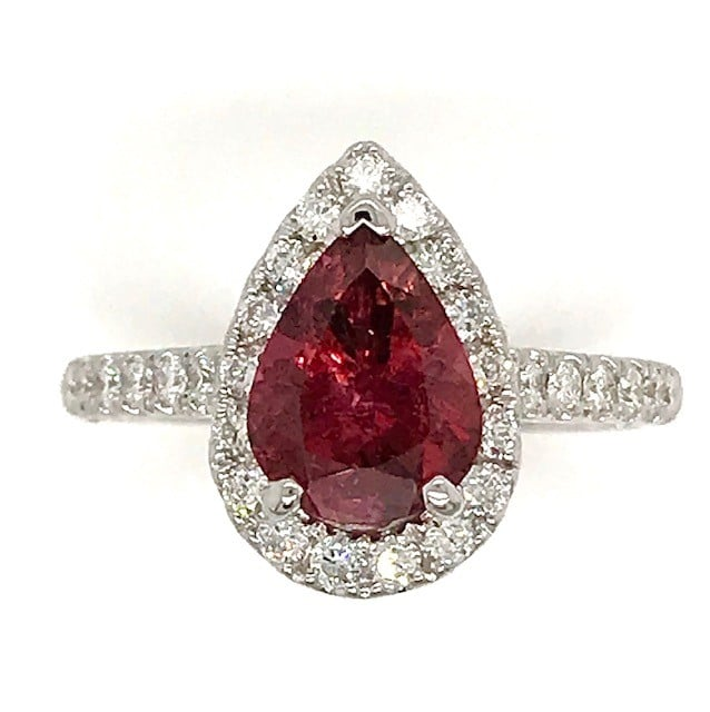 PINK PEAR SHAPED TOURMOLINE AND DIAMOND 18K WHITE GOLD RING