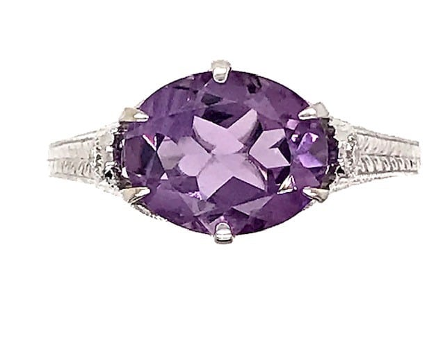 OVAL SHAPED AMETHYST AND DIAMOND FILIGREE 14K WHITE GOLD RING