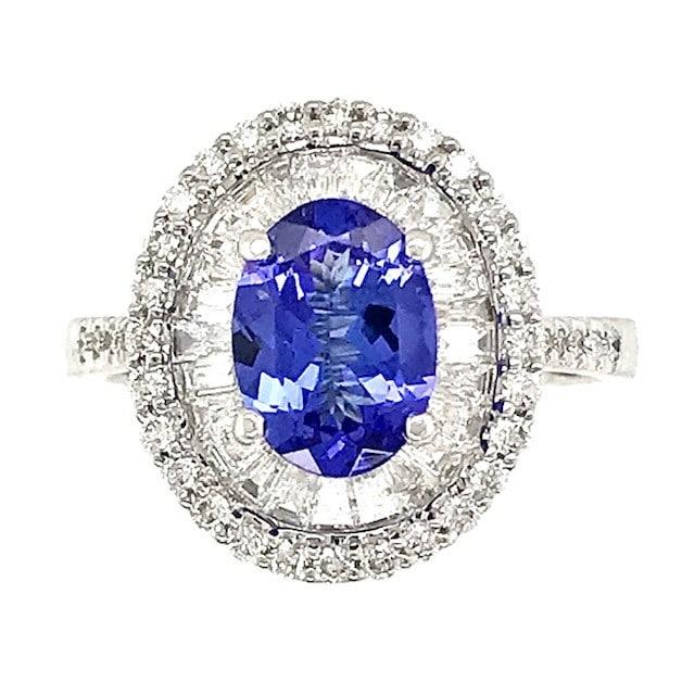 Oval Tanzanite and Halo Diamond Ring