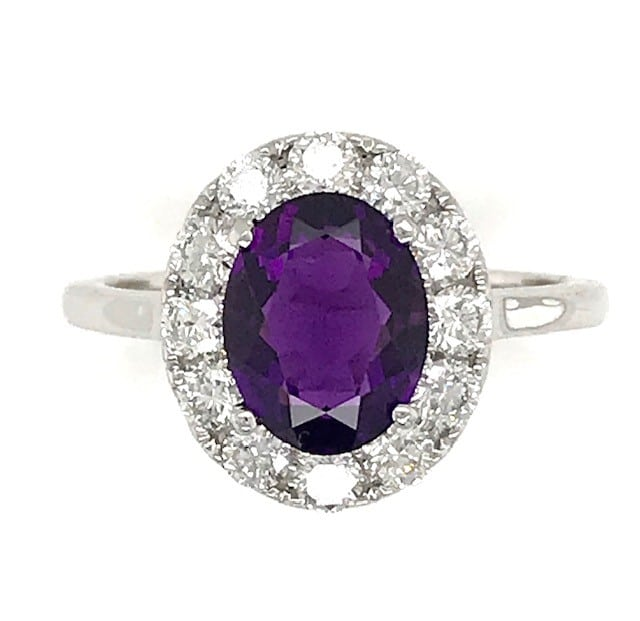 AMETHYST AND DIAMOND 18k WHITE GOLD HALO RING
