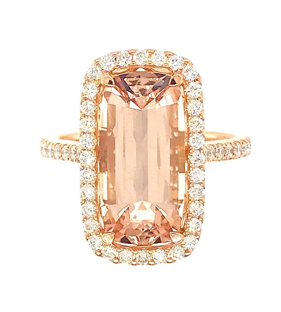 MORGANITE AND DIAMOND 18K ROSE GOLD RING