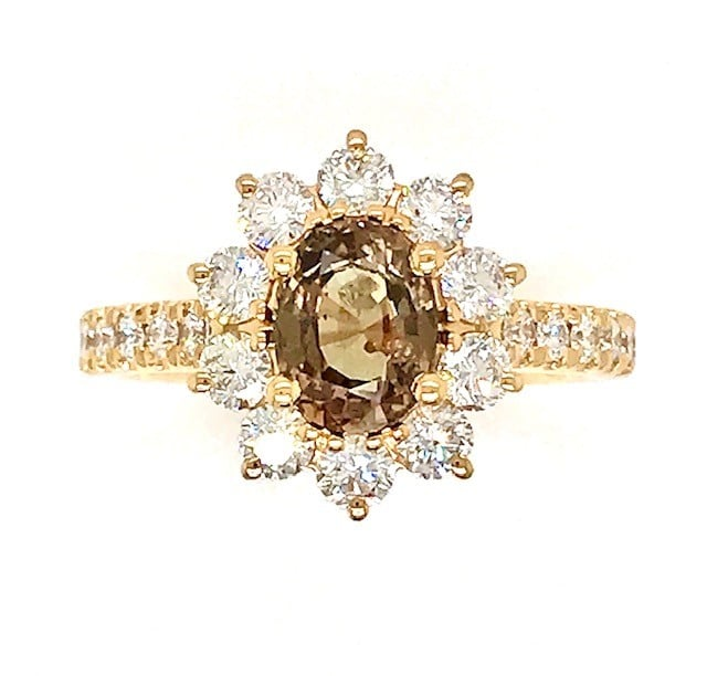 ALEXANDRITE AND DIAMOND 14k YELLOW GOLD HALO RING