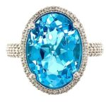 OVAL SHAPED SWISS BLUE TOPAZ AND PAVE DIAMOND 14K WHITE GOLD