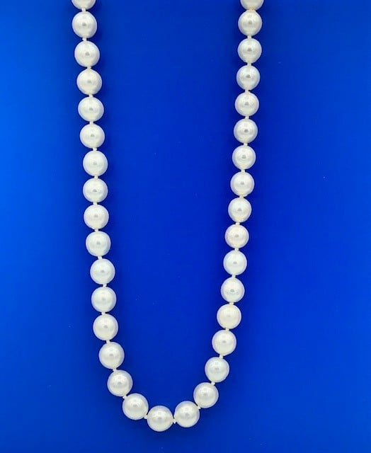 21.5 INCH CULTURED PEARL NECKLACE WITH 14K WHATE GOLD CLASP