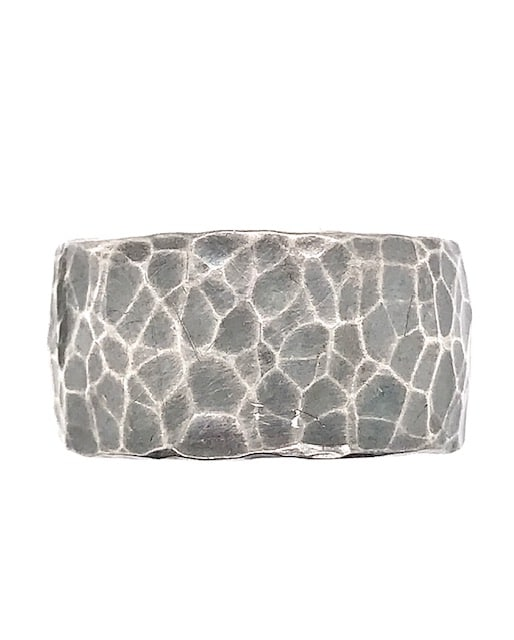 STERLING SILVER HAMMERED TEXTURED 12MM OXIDIZED BAND RING