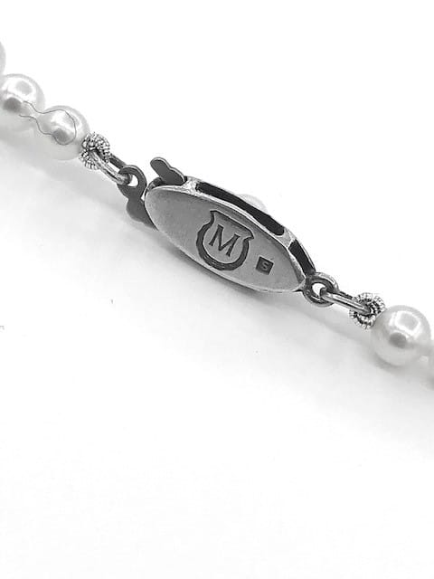 ESTATE MIKIMOTO PEARL 15 1/2 INCH TAPERED PEARL STRAND WITH STERLING SILVER CLASP