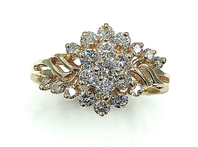 Yellow Gold Diamond Cluster Ring