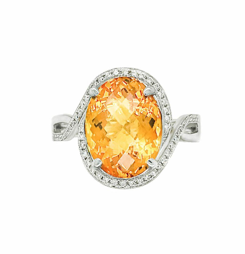 Oval Citrine with Diamond Halo Ring