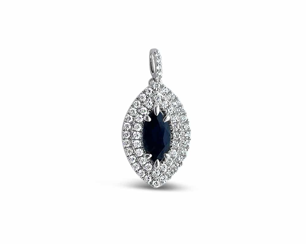 Marquise Shaped Blue Sapphire and Double Halo Diamond Pendant