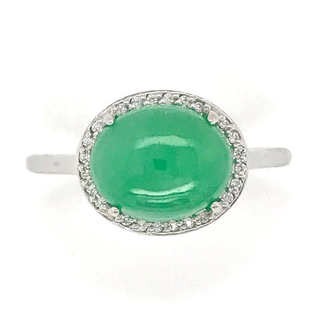 JADE AND DIAMOND 14k WHITE GOLD HALO RING