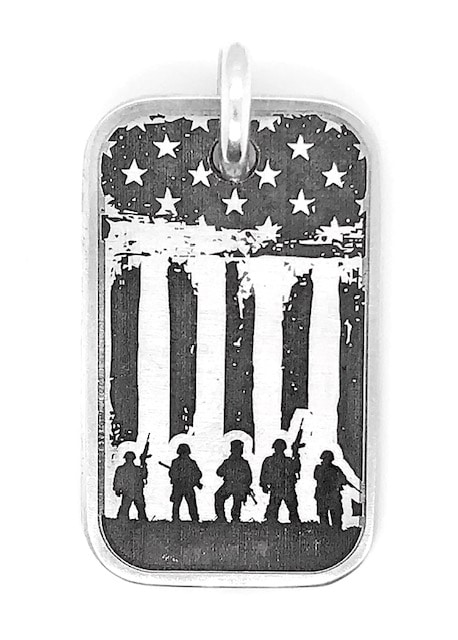 Stars and Stripes Soldiers Hero Dog Tag in Sterling Silver