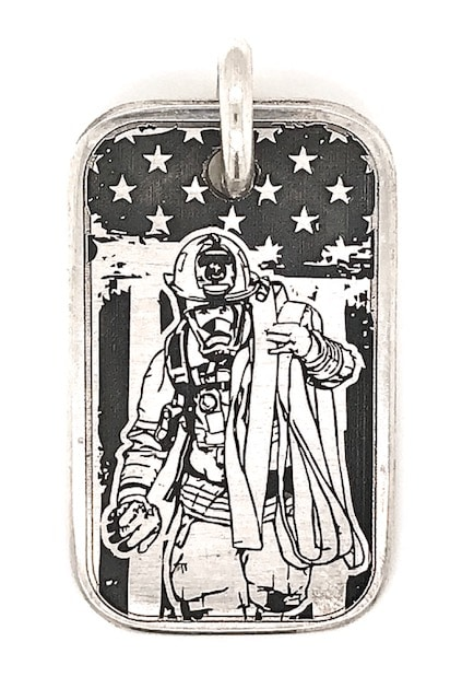 Stars and Stripes Fireman Hero Dog Tag in Sterling Silver
