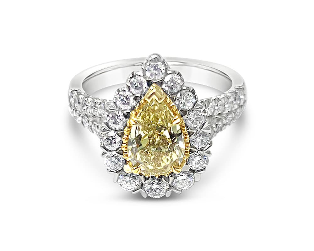 CHRISTOPHER DESIGNS HALO STYLE DIAMOND ENGAGEMENT RING WITH AN INTENSE FANCY YELLOW PEAR SHAPED DIAMOND