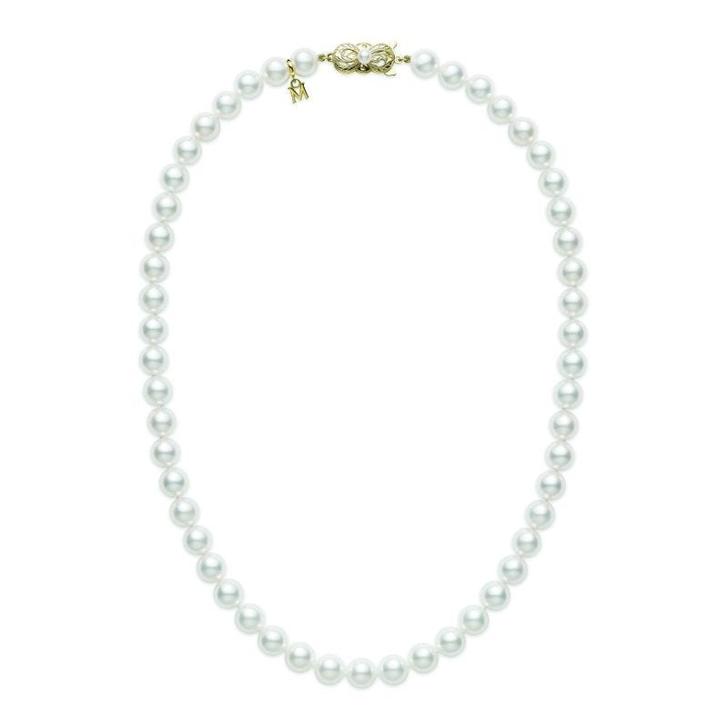 Akoya Cultured Pearl Strand Necklace with 18K Yellow Gold Clasp