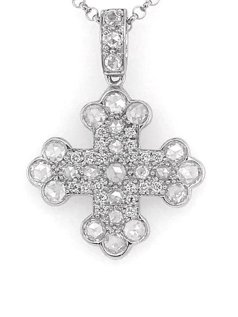 Rose Cut Diamond Cross Pendant by Michael Schofield