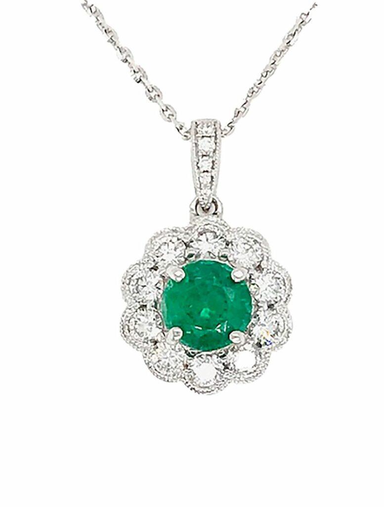 Emerald and Diamond Halo Necklace