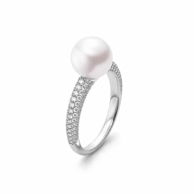 Akoya Cultured Pearl and Pavé Diamond Ring