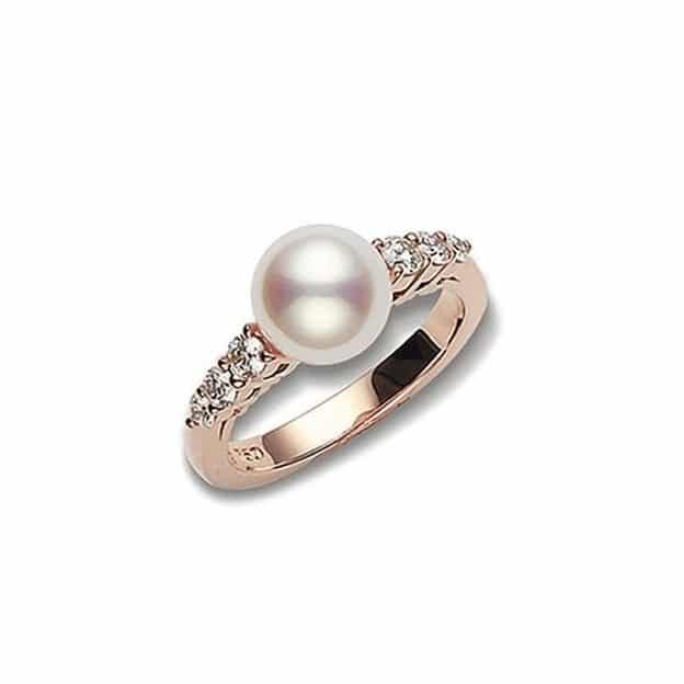 Morning Dew Akoya Cultured Pearl Ring in 18K Pink Gold