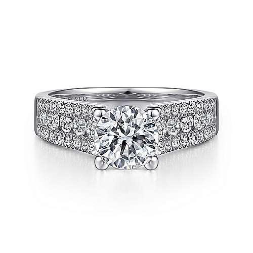 14K White Gold Round Wide Band Diamond Engagement Ring