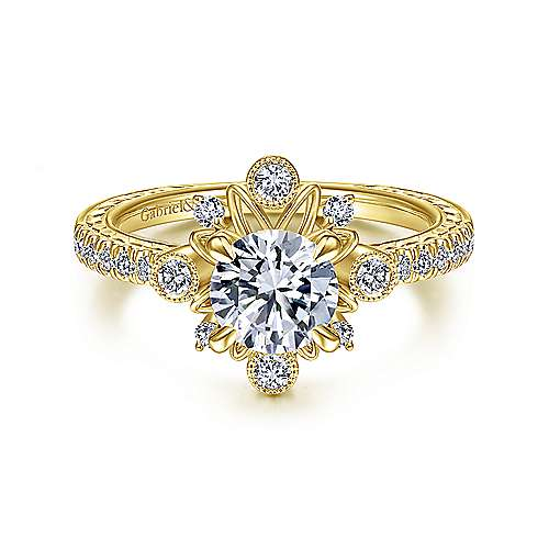 14K Yellow Gold Starburst Halo Round Diamond Engagement Ring
