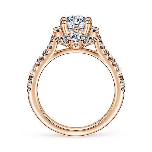 Unique 14K Rose Gold Art Deco Halo Diamond Engagement Ring