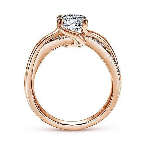 14K Rose Gold Twisted Round Diamond Engagement Ring