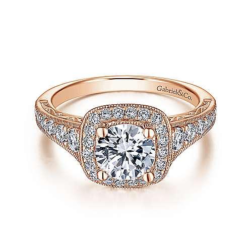 Vintage Inspired 14K Rose Gold Cushion Halo Round Diamond Engagement Ring