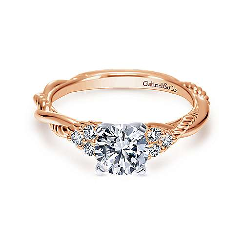 14K Rose Gold Round Diamond Twisted Engagement Ring