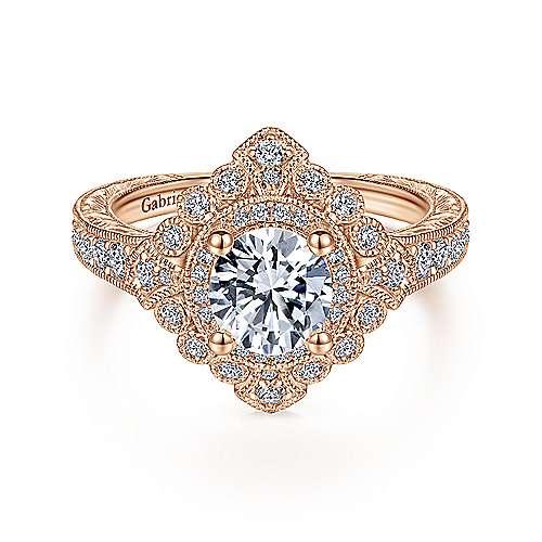 Art Deco 14K Rose Gold Round Double Halo Diamond Engagement Ring