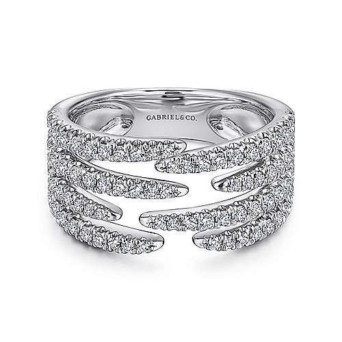 14K White Gold Open Wide Band Pavé Diamond Ring