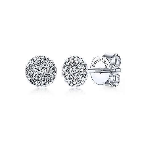 14K White Gold Round Pavé Diamond Stud Earrings