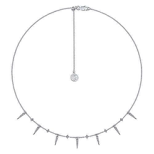 14K White Gold Alternating Diamond Spike Necklace