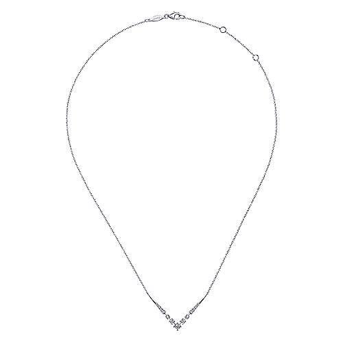 14K White Gold Diamond Chevron Necklace