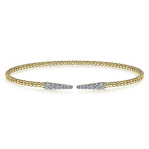 Split 14K Yellow Gold Bujukan Bead Cuff Bracelet with Diamond Pavé Spikes