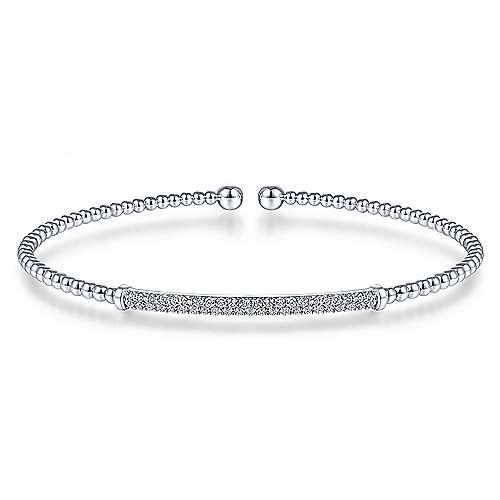 14K White Gold Bujukan Split Cuff Bracelet with Diamond Pavé Bar