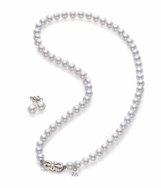 Mikimoto Pearl Earrings and Necklace Combo Set