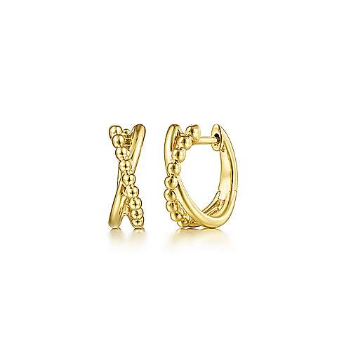 14K Yellow Gold Beaded Ball Criss Cross Huggie Earrings