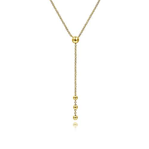 14K Yellow Gold Bujukan Bead Station Y Drop Necklace