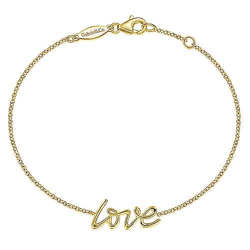 "14K Yellow Gold ""LOVE"" Chain Bracelet"