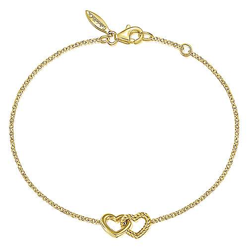 14K Yellow Gold Chain Bracelet with Entwined Hearts