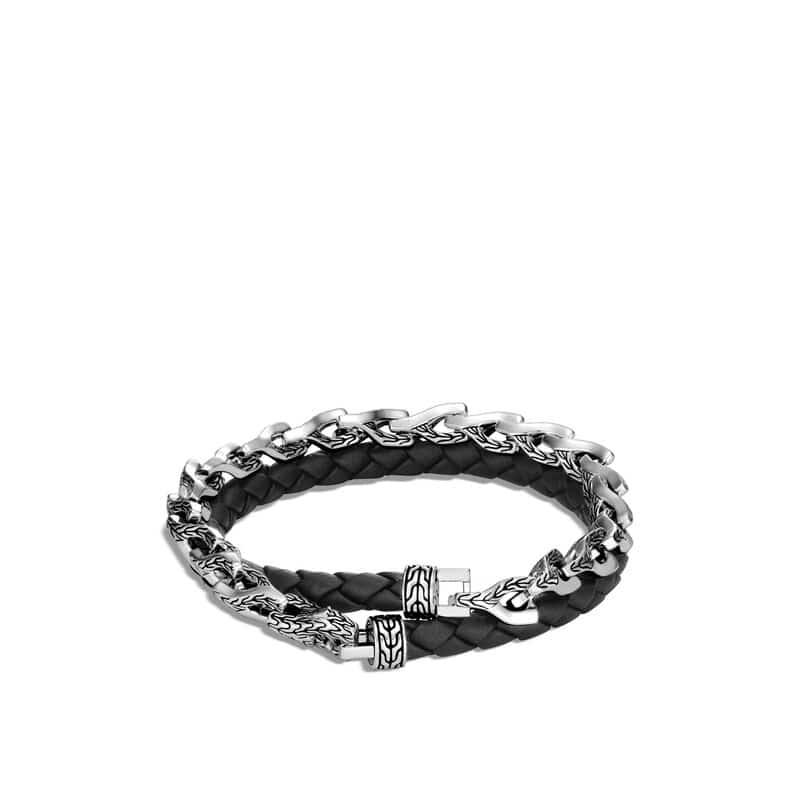 Asli Classic Chain Link Double Wrap Bracelet, Leather