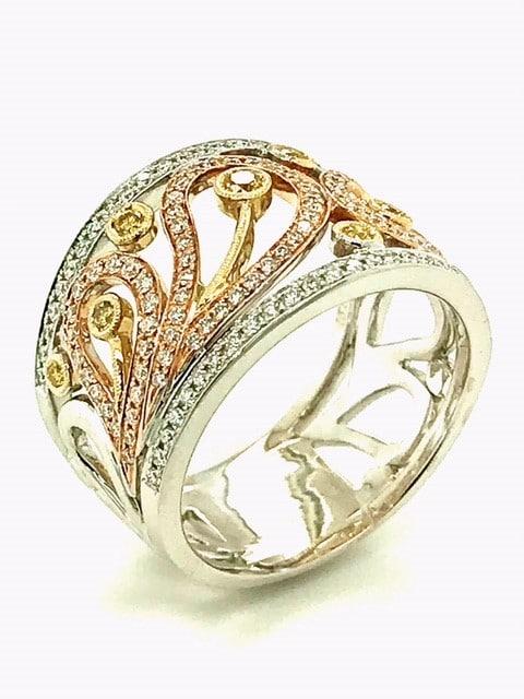 Diamond 18K Yellow Rose And White Gold Ring