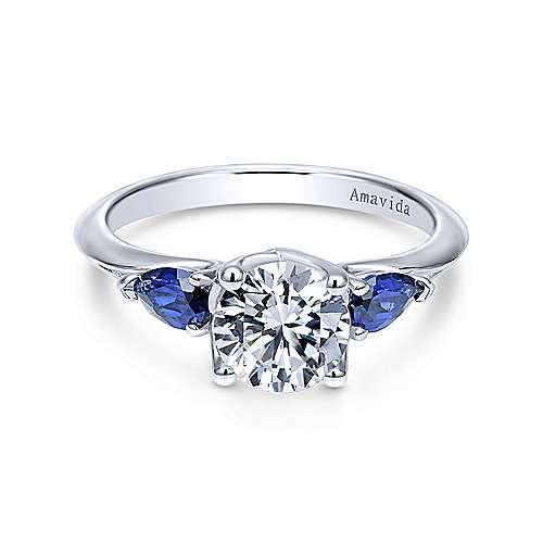 Platinum Round Sapphire and Diamond Engagement Ring