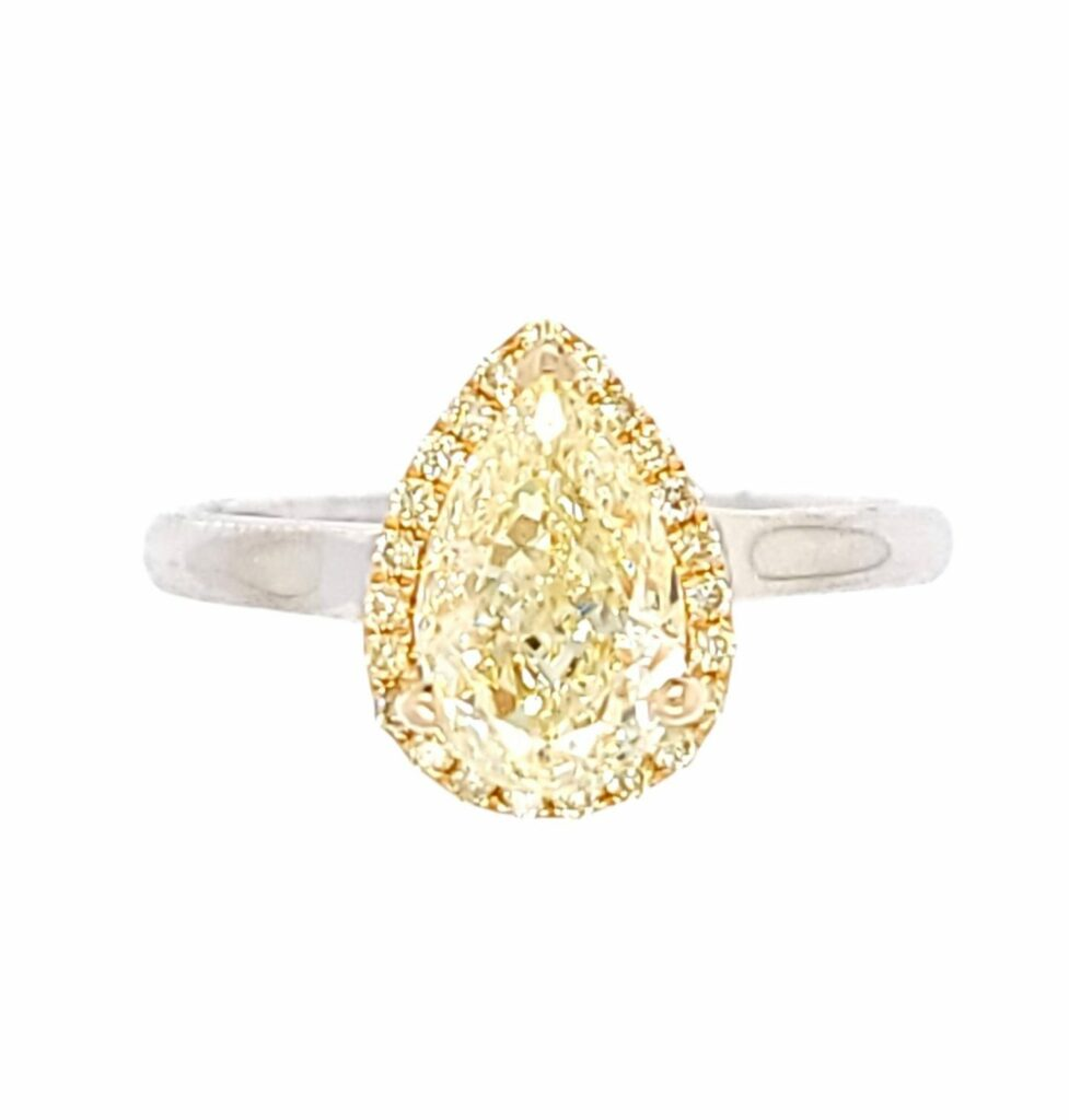 Fancy Yellow Diamond Ring in 18K White and Yellow Gold
