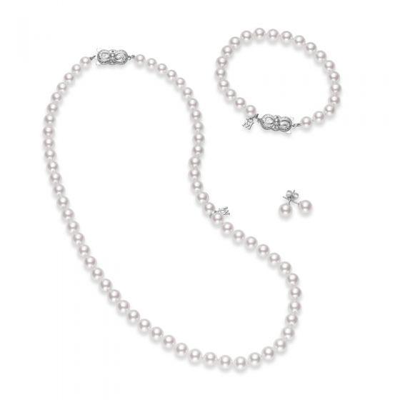 Akoya Cultured Pearl Three Piece Set 18K White Gold Clasp