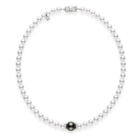 Fusion Akoya and Black South Sea Cultured Pearl Strand with Diamond Rondelles